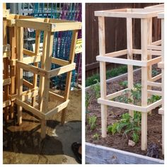 DIY tomato cage. Sara says: these are easy to make (as long as you have access to power tools), and so much better-looking than the usual wire cages!