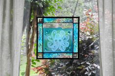 Octopus stained glass art Stained Glass Art, Fused Glass, French Gothic Architecture, Little Octopus, Sea Turtle Art, France Art, Nautical Art, Goldfish, Glass Panels