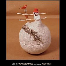 Circa 1940s German Snowball Candy Container w/ Snowman and Bird