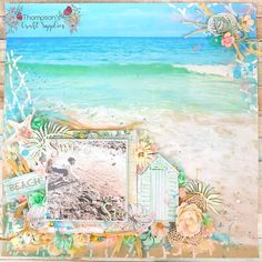 Sea and Sun- mixed media layout by Sarah for Thompsons craft supplies using the July Tropical escape kit. Beach Scrapbook Layouts, Scrapbook Paper Crafts, Scrapbook Pages, Scrapbooking, Media Kit, Layout Inspiration, Paper Flowers, Craft Supplies, Colours