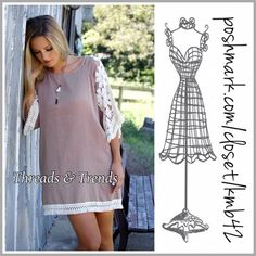 New! Boho Beauty Tunic Loving this tape tunic dress with lace detail on sleeves and fringe detail hemline. Made of chiffon/cotton blend. Size S Threads & Trends Dresses