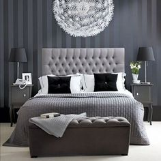 Chic Bedroom Decorate With Black And White For A Beautiful Best Hotel Style Bedrooms Ideas Blue And Grey Bedroom Ideas For Men Or Boys Modern Furniture Design Monochrome Bedroom, White Bedroom Decor, Gray Bedroom, Home Decor Bedroom, Modern Bedroom, Master Bedrooms, Grey Room, Contemporary Bedroom, Silver Bedroom