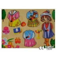 Puzzle incastru lemn - Imbraca fetita Toys, Activity Toys, Clearance Toys, Gaming, Games, Toy, Beanie Boos