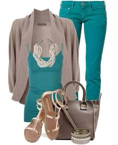 Spring/Summer Wear - Teal Jeans & Tank Top with Beige Cardi