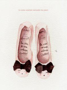 "LuciaBe ballet flats for Wonders shoes. illustration by ""Los pájaros de Verónica Algaba"""