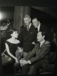 Audrey Hepburn, Mel Ferrer, Frank Sinatra and Prince Romanoff, Sands, 1956, via Flickr.