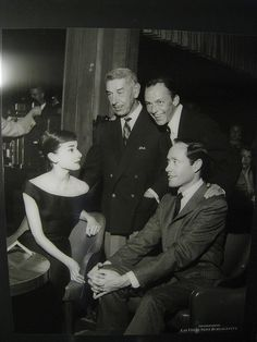 Audrey Hepburn, Mel Ferrer, Frank Sinatra and Prince Romanoff, Sands, 1956,