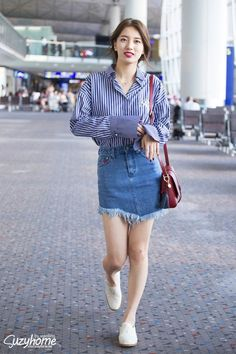 korean style ,korea fashion ,denim skirt ,sneaker, t-shirt ,jeans ,cute, chic, suzy