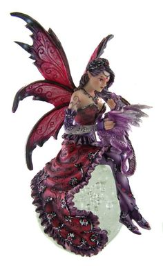 Gothic FAIRY & DRAGON FIGURINE on Glass Globe - Home Decor Ornament Gift - New