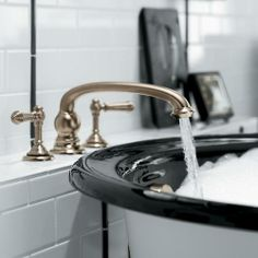 kohler: Add character and authenticity to your bathroom. Artifacts faucets combine quality craftsmanship with artisan designs, so you can create a space that's all yours. Kohler Artifacts, London Townhouse, Bathroom Gallery, Bathroom Ideas, White Cottage, White Houses, Bathroom Faucets, Bathroom Black, Diys