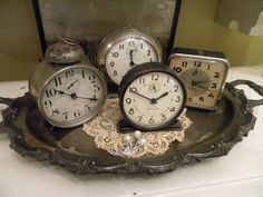 Antique Silver Tray - displaying collected vintage alarm clocks - via Cheryl's Cottage Home