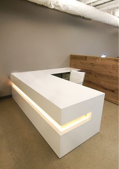 Custom Made White Lacquer Reception Desk