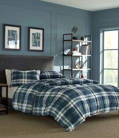 Make an update on the rustic lodge style with the new Nautica Crossview plaid comforter set. This classic plaid is modernized with a fresh palette of navy's and white. The printed micro suede design is brushed leaving you with an ultra-soft feel. Plaid Comforter, Blue Comforter Sets, Queen Comforter Sets, Bedding Sets, Rustic Comforter, Blue Bedding, Lodge Style, Bed Styling, Bedding Collections