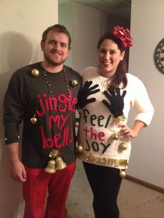 Ugly Christmas sweater pair couple duo #uglysweater http://costumecrafty.blogspot.com/2016/07/how-to-make-ugly-christmas-sweater-even.html