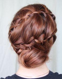 Waterfall braid bun..