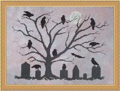 Whispered by the Wind The Mourning Tree - Cross Stitch Pattern. Model stitched on 28 Ct. Mirage Lugana from Picture This Plus with DMC floss. Stitch Count: 160W