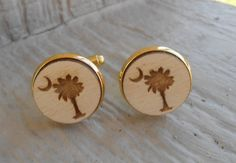 South Carolina State Flag Logo Cufflinks. Laser Engraved. Palm Tree, Moon. Wedding, Men's Christmas Gift, Dad. Silver Plated. by TreeTownPaper on Etsy