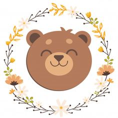 The teddy bear in flower ring Premium Vector Baby Animal Drawings, Cute Bear Drawings, Bear Stencil, Teddy Bear Drawing, Teady Bear, Candy Logo, Bear Vector, Baby Boy 1st Birthday, Nursery Decals