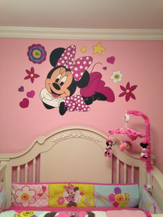 Minnie mouse mural in baby nursery girl nursery ideas in 201 Baby Nursery Themes, Baby Room Decor, Girl Nursery, Girl Room, Nursery Ideas, Bedroom Decor, Minnie Mouse Room Decor, Minnie Mouse Nursery, Mickey Mouse