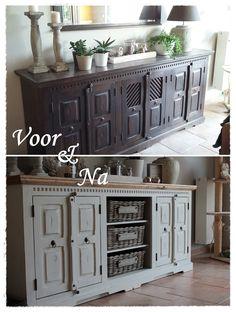 Van koloniaal naar landelijk - Dressoir gepimpt en middelste kastdeurtjes zijn weggelaten en vervangen door manden van Mandenstijl.nl!