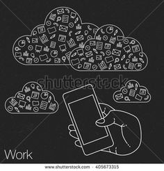 Demonstration screen mobile for presentation application. Icons set in flat style on background. Illustration of cloud technology and services. Hand with smartphone. Media and networking in devices