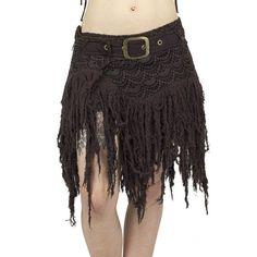 Wild brown fringes gauze and crochet skirt, gypsy, tribal, bohemian, pixie, festival trance, amazone, burning man, mad max, native