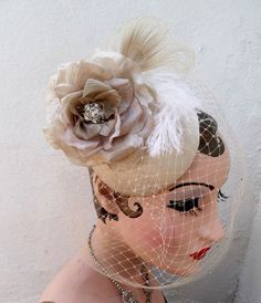Champagne Birdcage Veil, Feather Fascinator, Bridal Hat, Rose Flower, Ivory White Peacock Feather, Wedding Veil, Women's Hat, Cocktail Hat. $134.95, via Etsy.