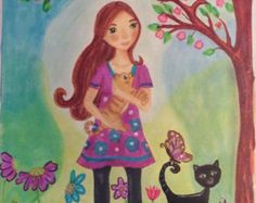 Drawing Illustration girl with cat Original Art. Colorful art cat girl. girls room art fairy tale art wall art gift for Girls LumisaDesign by lumisadesign. Explore more products on http://lumisadesign.etsy.com