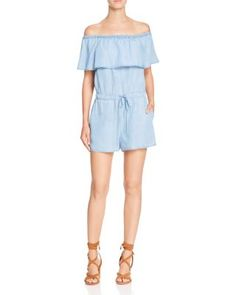 Ella Moss Off-The-Shoulder Chambray Romper | Bloomingdale's