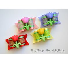 Tulips   Dog Bow by BeautybyParis on Etsy
