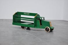 Ado Ko Verzuu toy truck Groenten Fruit ca 1939:  Groenten & Fruit truck (Vegetables & Fruit) and has original Bijenkorf sticker and price on the bottom, de Bijenkorf sold a lot of Ado furniture in the 30s-60s.