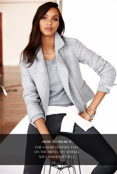 So obsessed with this gray moto jacket