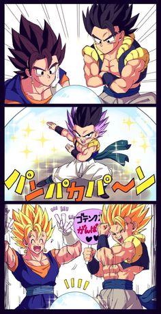 Proud fusion fathers Dragon Ball Z, Dragon Ball Image, Anime Couples Manga, Manga Anime, Anime Art, Anime Girls, Fanart, Dbs Gohan, Goten Y Trunks
