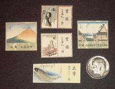 Dollhouse Miniatures: 5 Japanese Prints on Cardstock
