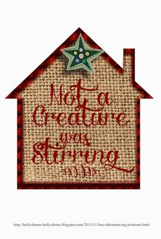 Free printout burlap background for Christmas - Not a creature was stirring