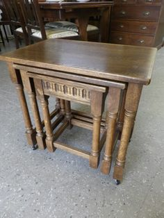 Solid Oak Nest Of Three Tables On Casters In The RGF Showroom --- Good Condition £65 (PC922)