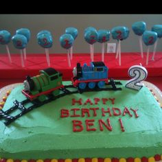 Simple and I like the cake pop idea with the number on them :) Thomas the Train birthday cake idea Thomas Birthday Cakes, Thomas Birthday Parties, Thomas The Train Birthday Party, Trains Birthday Party, Mickey Birthday, Birthday Party Themes, Boy Birthday, Birthday Ideas, Train Party Decorations