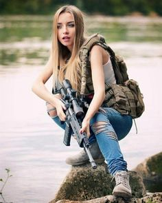 Cute girl with weapon
