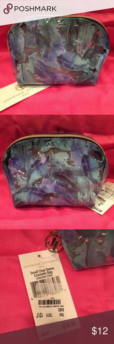 🎁 ADRIENNE VITTADINI Cosmetic Bag NWT ADRIENNE VITTADINI Small Clear Dome Cosmetic / Makeup Bag Brand New With Tags  Retail: $16.00 Plus Tax Shades Of Blue And Green On Clear Bag Gold Tone Logo Zipper Pull  🎁 Great Gift / Stocking Stuffer 🎁 Smoke Free Home Adrienne Vittadini Bags Cosmetic Bags & Cases