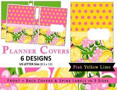 Lilly Inspired Printable Planner / Binder / Journal Covers & Spine Label Inserts - Tropical Lemon Lime Pink Southern Preppy US LETTER (5.00 USD) by myunclutteredlife