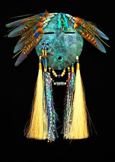 "*Gourd Art - ""Sky Water Mask"" by Black Eagle Mask Face Paint, Mask Painting, Native American Masks, American Indian Art, Cardboard Sculpture, Sculpture Art, Hand Painted Gourds, Art Premier, Statues"