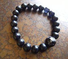 Pitch Black Glass and Agate Stretch bracelet by SatinDollCo