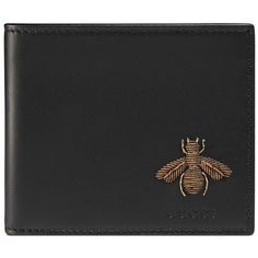 Gucci Bee Embroidered Bi-Fold Wallet found on Polyvore featuring polyvore, men's fashion, men's bags, men's wallets, accessories, black, men, wallets, mens leather wallets and mens bifold leather wallet