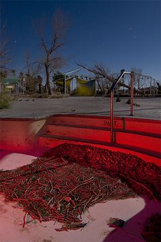The Rock-A-Hoola Waterpark at Lake Dolores, California.  Closed and abandoned in 2004.