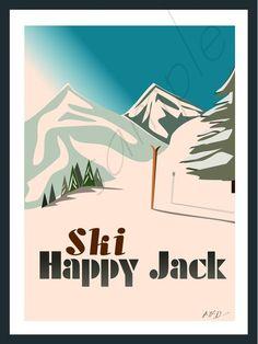Vintage Travel Poster Designs - Happy Jack Wyoming