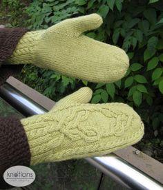 Magic Mirror Mittens by Kristel Nyberg - knotions Knit Mittens, Knitted Gloves, Fingerless Gloves, Knitting Patterns, Crochet Patterns, Back Of Hand, Cable Needle, Magic Mirror, Knit In The Round