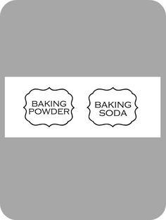 Baking powder & soda pantry jar labels