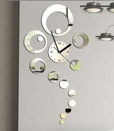 Frete grátis! Home acessórios! Anel espelhado grande relógio de parede decorativo moderno, sala de estar decoração de parede, relógios de parede, F33 $20.17