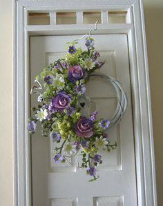 Purple Rose and Daisy Wreath - Dollhouse Miniature - by Devine Miniature Shop - via Etsy