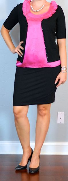 Outfit Posts: outfit post maternity: pink ruffle blouse, black cardigan, black stretch skirt, black pumps  (18 weeks)